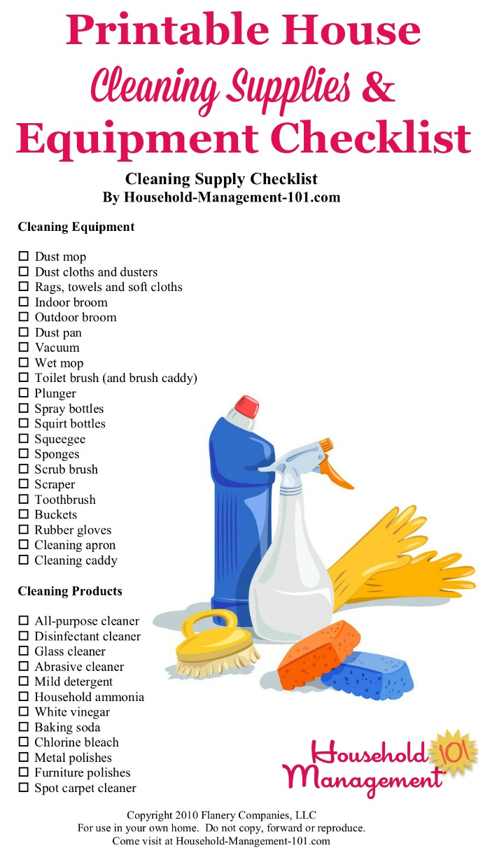Free printable house cleaning supplies and equipment checklist, so you know exactly what types of cleaning products and tools to stock in your home {courtesy of Household Management 101} #CleaningSupplies #CleaningProducts #CleaningEquipment