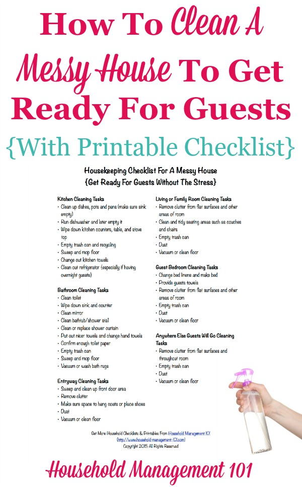 how to clean a messy house to get ready for guests including free printable housekeeping