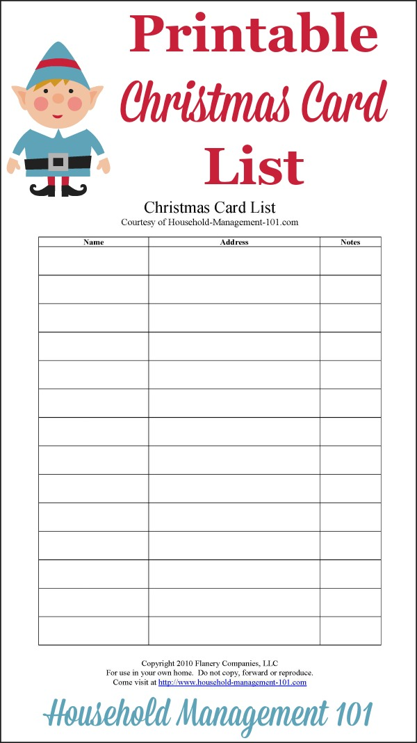 Christmas card list printable plan who youll send cards to this year free printable christmas card list courtesy of household management 101 m4hsunfo