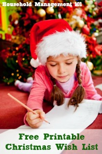 Free printable Christmas wish list that can be used by either kids or adults, to help you get ideas for what to buy your loved ones {courtesy of Household Management 101}