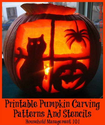 Family friendly printable pumpkin carving patterns round up {on Household Management 101}