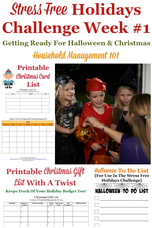 Week #1 of the Stress Free Holidays Challenge is all about Halloween and Christmas preparations for the week, and includes free printables and organizing tips {on Household Management 101} #StressFreeHolidays #HalloweenPlanning #ChristmasPlanning