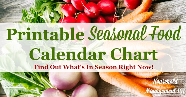 Free printable seasonal food calendar chart, listing the produce in season in each of the four seasons, to help you with both meal planning and saving money {courtesy of Household Management 101}