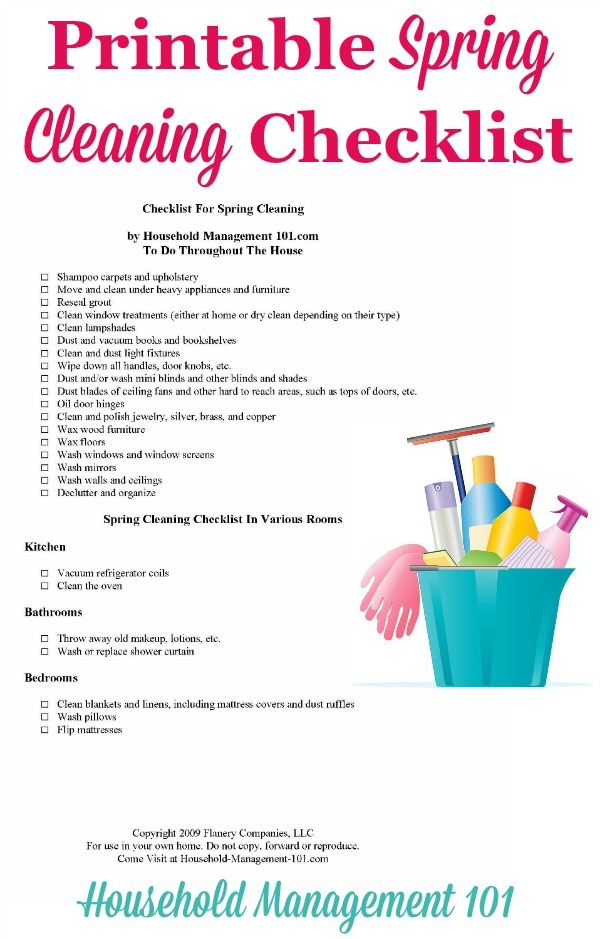 picture relating to House Cleaning Checklist Printable referred to as Spring Cleansing List For Your Residence With Absolutely free Printable