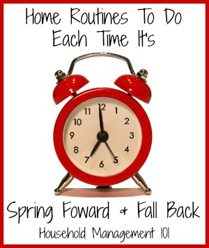 Household hack: Use the memory jog of Daylight saving time, with spring forward and fall back, to remember to do some household chores you don't have to do very often! Here's a list of what you should do.