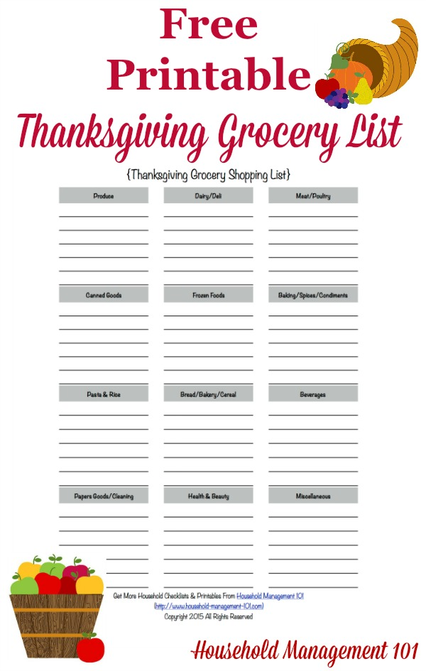 Printable Thanksgiving Grocery List Shopping List – Printable Grocery List Template Free