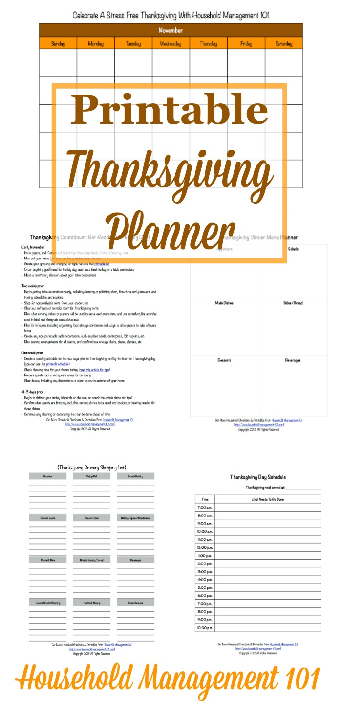 Get ready for a stress free Thanksgiving holiday with this free Thanksgiving planner. It contains 5 printable forms to help you get yourself organized. {courtesy of Household Management 101}