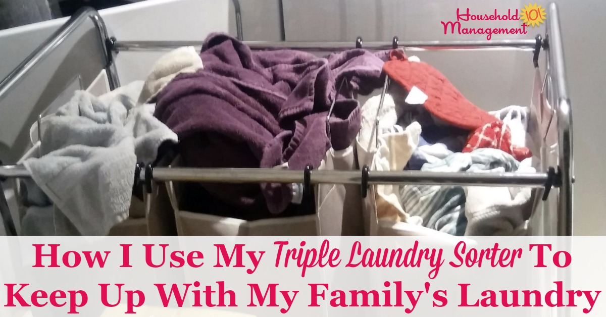 Here is how I use my triple laundry sorter to keep up with my family's laundry, and how you can do the same {on Household Management 101}