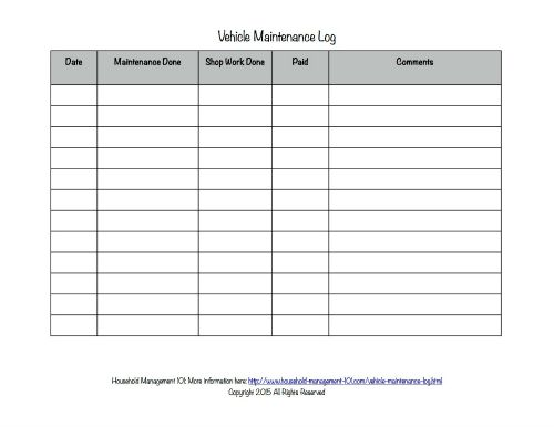 Free Printable Vehicle Maintenance Log: Why You Should Have One In ...