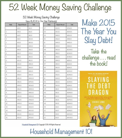 Take the 52 Week Money Saving Challenge and save $1,404 painlessly, which includes a free printable savings chart, plus check out Cherie Lowe's new book, Slaying the Debt Dragon! {on Household Management 101} #slaydebt