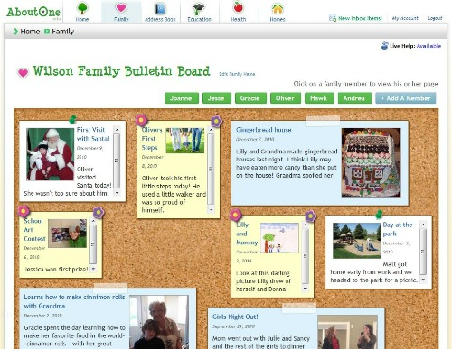 AboutOne Family Bulletin Board