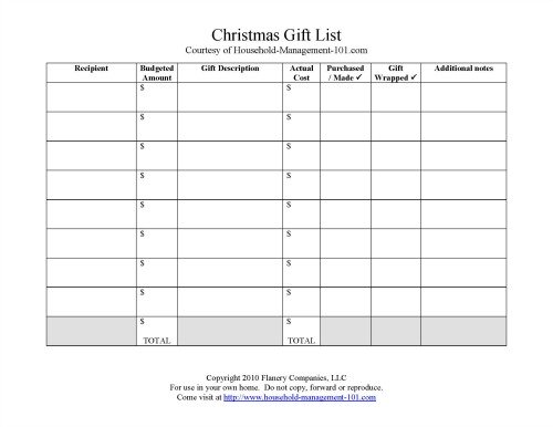 printable Christmas gift list