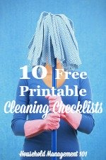 10 free cleaning checklists {on Household Management 101}