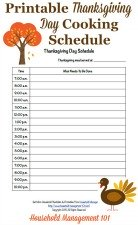 free printable Thanksgiving day cooking schedule