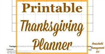Printable Thanksgiving planner