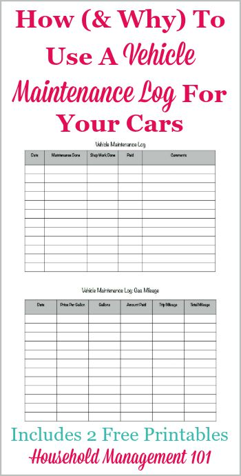 How and why to use a vehicle maintenance log for your cars, including 2 free printables, one for maintenance and one for gas mileage {on Household Management 101} #VehicleMaintenanceLog #CarMaintenanceLog #AutoMaintenanceLog