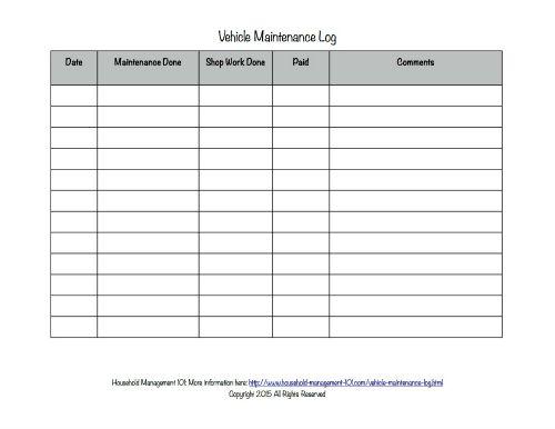 Epic image in free printable vehicle maintenance log