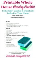 Printable Whole House Cleaning Checklist