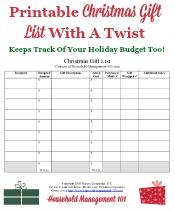 Christmas Gift List Printable