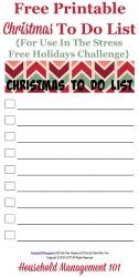 Free Printable Christmas To Do List