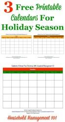 Free Printable Holiday Calendars