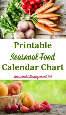 Seasonal Food Calendar Chart
